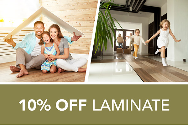 10 percent off Laminate – Only at Harry's Floors To Go in Burlingame, California